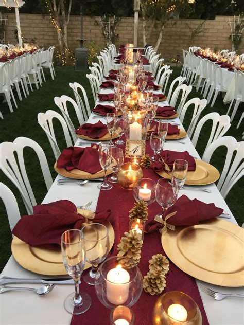 Formal Dinner Table Setting Ideas Burgundy Table Runners Napkins Wedding Recycle