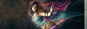 Beautiful lady with flowing light effects - Photoshop ...