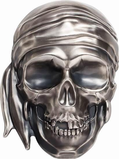 Skull Pirate Silver Palau Coin Kilo Shape