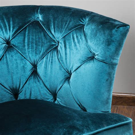 anabella teal blue velvet tufted sofa chair great deal