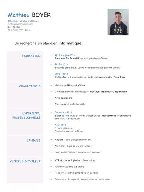 Cv Stage by Cv Informatique Par Mathieu Boyer Cv Stage Informatique