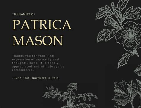Card is part of thick, inflexible paper or slim pasteboard, especially one useful for writing or printing on; Funeral Thank You Card Template | PosterMyWall