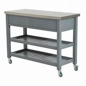 Homcom, 47, U201d, Stainless, Steel, 3, Tier, Kitchen, Rolling, Cart, Workbench, With, Storage