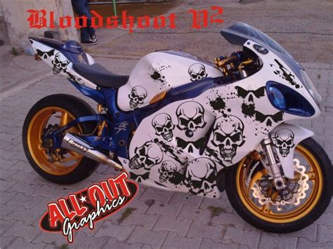 Custom Motorcycle Graphics Decal Kit Bloodshoot Skull V2