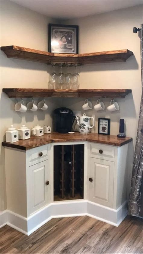 Raise your hand if you have coffee mugs overflowing in your cupboard. 30 best farmhouse kitchen coffee bar ideas for your 22   Home remodeling, Coffee bar home ...