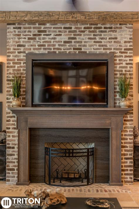 Brick Fireplace Mantels White Painted Brick Fireplace