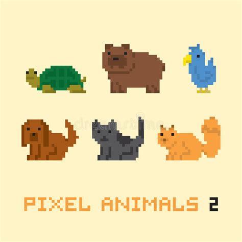 pixel art style animals cartoon vector set  stock vector