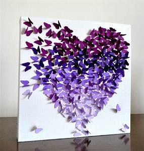 Purple Ombre Classic Butterfly Heart/ 3D Butterfly Wall ...
