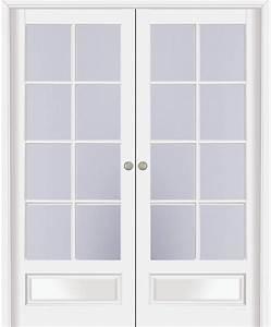 Double porte coulissante vosges 8 carreaux hetre massif for Porte de garage coulissante et porte a carreaux