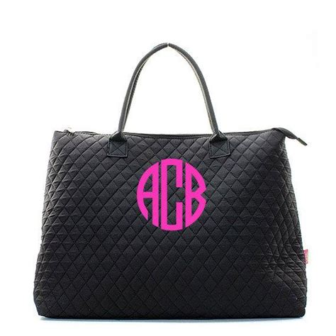 monogram quilted black tote bag large personalized quilted