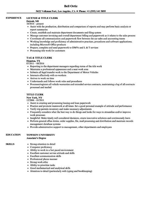 What Is Resume Title by Title Clerk Resume Sles Velvet