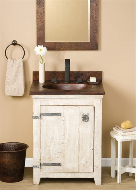 Vanity 24 Inch by 24 Inch Single Sink Bath Vanity In Whitewash With A Copper