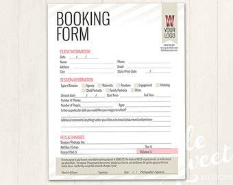 photography forms client booking form template