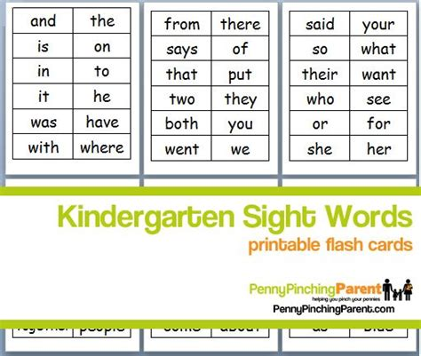 Free Printable Kindergarten Sight Words (ideal For Printing On Cardstock & Making Flashcards