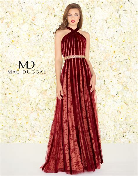 wine colored evening gown 40876r mac duggal halter evening gown