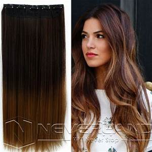 24quot One Piece Clip In Straight Synthetic Dip Dye Ombre