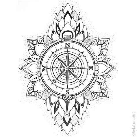 hand drawn compass mandala design  ayla bryden