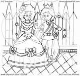 Cinderella Outline Coloring Prince Dancing Royalty Clipart Illustration Bannykh Alex Rf Copyright 2021 Without sketch template