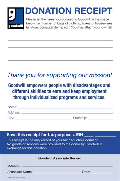 goodwill donation receipt template  eforms