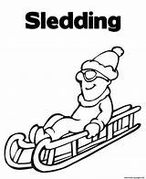 Coloring Sledding Winter Pages Printable sketch template