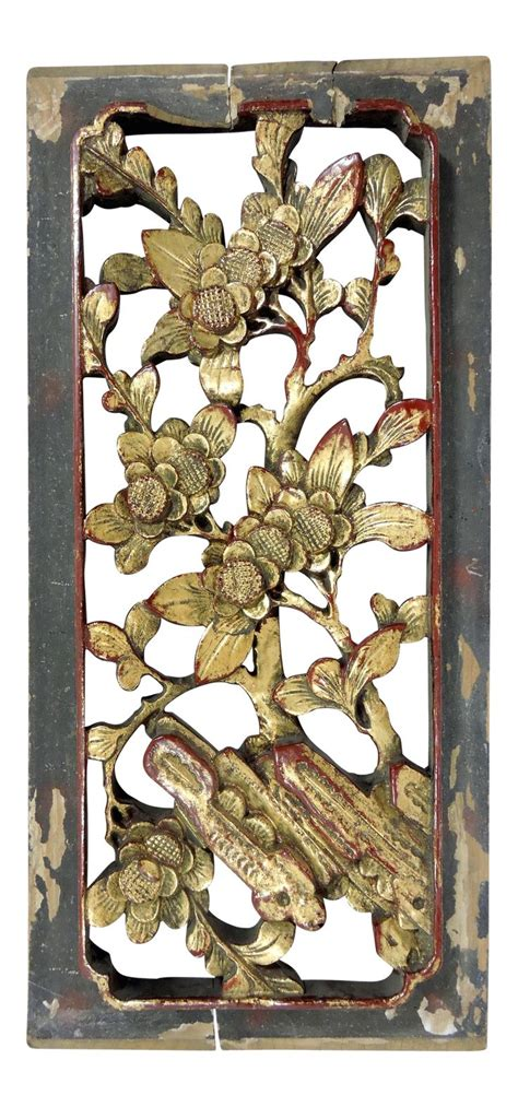"""Lotus flower teak wood hand carved home decor wall panel. Antique Chinese Gold """"Cherry Blossom"""" Wood Wall Panel Hanging on Chairish.com Please feel free ..."""