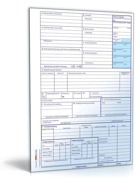 nationaler frachtbrief formular zum