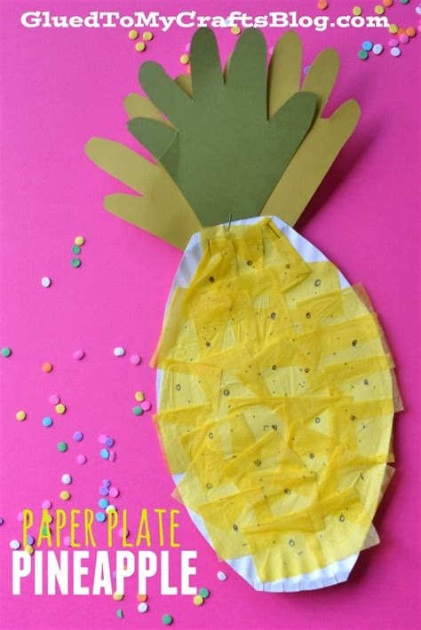 paper plate pineapple kid craft 858 | pineapple 2 683x1024