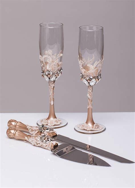 personalized wedding glasses  cake server set cake cutter