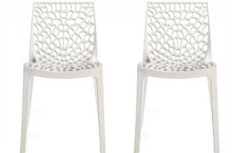 chaises blanches design lot de 2 chaises design blanches opaques filet design sur