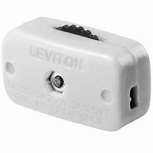 Leviton 6 Amp Mini Thumb Wheel Cord Switch, White-R52