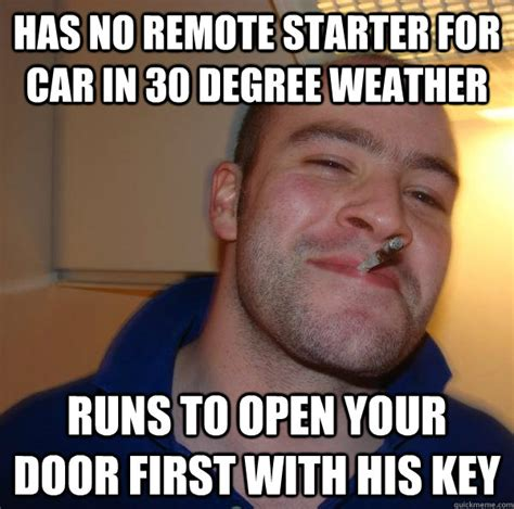 Degree In Memes - has no remote starter for car in 30 degree weather runs to