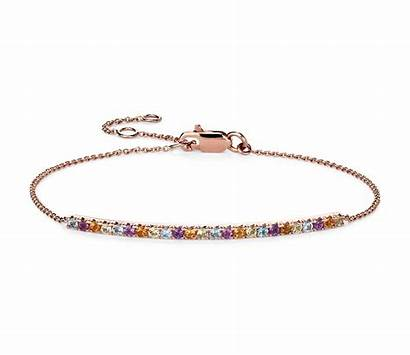 Bracelet Gold Gemstone Multi Rose 14k Bar