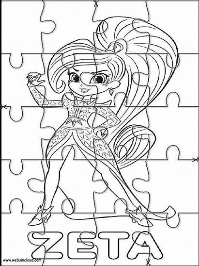 Shimmer Shine Stampare Puzzle Colorare Scaricato Websincloud