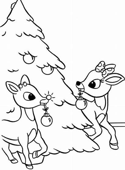 Rudolph Coloring Christmas Pages Tree Clarice Template