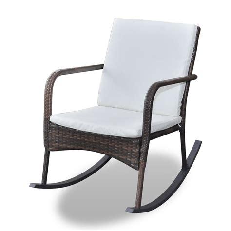brown garden rocking chair quality poly rattan vidaxl