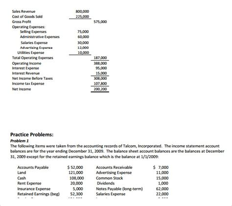 income statement examples word