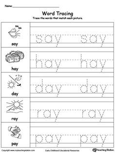 word tracing  words word family worksheets