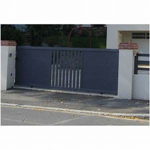 Portail Alu Coulissant : portail coulissant aluminium thermolaqu gris ~ Edinachiropracticcenter.com Idées de Décoration
