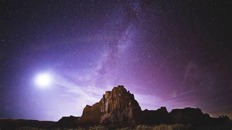 Wallpaper Rocks Milky Way Desert Purple Sky Night