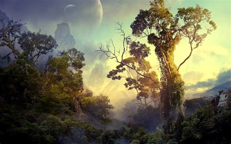 fantasy art digital art nature landscape trees forest