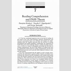 (pdf) Reading Comprehension And Pass Theory