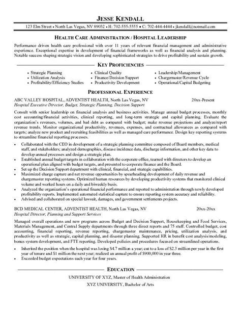 Hospital Administrator Resume Sle by Resume For Hospital Administrator Sales Administrator