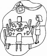 Table Thanksgiving Coloring Drawing Dinner Christmas Pages Tables Getdrawings sketch template
