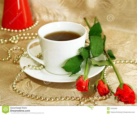 Cup of tea and red roses stock photo. Image of refreshment   12942066