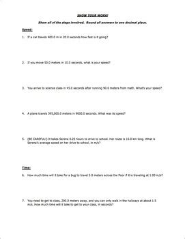 Worksheet  Distance Speed Time Word Problems (part 1) By Science With Mr Enns