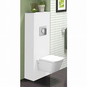 meuble wc suspendu universel blanc brillant neova bricozor With meuble wc suspendu