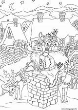 Santa Coloring Pages Claus Christmas Chimney Presents Down Printable Fireplace Entering Via Come Drawing Cool sketch template