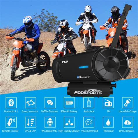 bluetooth motorcycle intercom helmet headsets 1000m bt 8riders fx8 interphone 629778477465 ebay