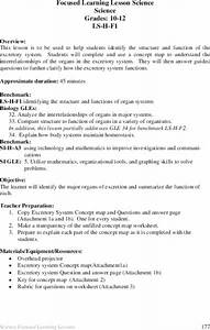 Excretory System Lesson Plan For 10th