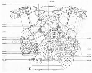 V12 Engine Blueprint Bmp 4mb Front View